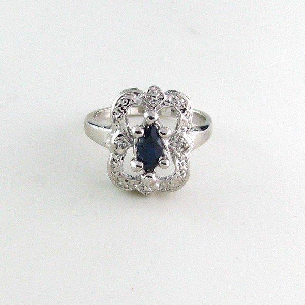 APP: 1k 0CT Sapphire w/Diamond & Sterling Silver Ring