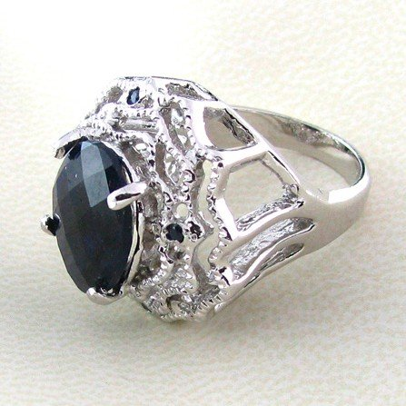 APP: 10k 6CT Sapphire w/Diamond & Sterling Silver Ring