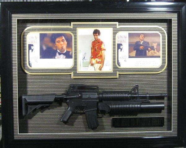 Scarface Shadowbox w/Replica Gun - Authentic Signatures