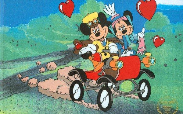 Disney Cel, Mickey & Minnie Nifty Ninety w/Certificate