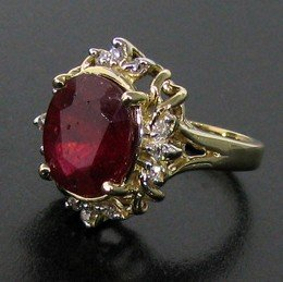 APP: 12.3k 14 kt. Gold, 5.95CT Ruby & Diamond Ring