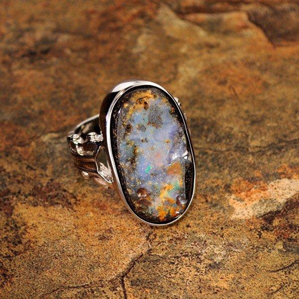 APP: 7.2k 23.72CT Boulder Opal & Sterling Silver Ring