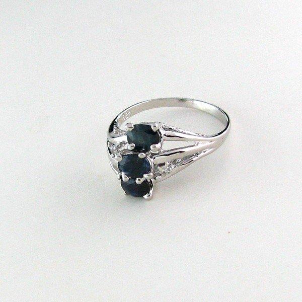 APP: 1k 1CT Sapphire w/Diamond & Sterling Silver Ring