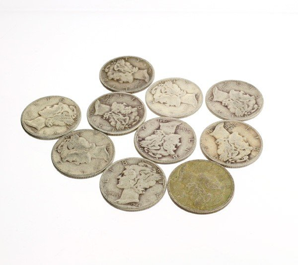 10 Misc. Winged Liberty Head Mercury Dime Coin