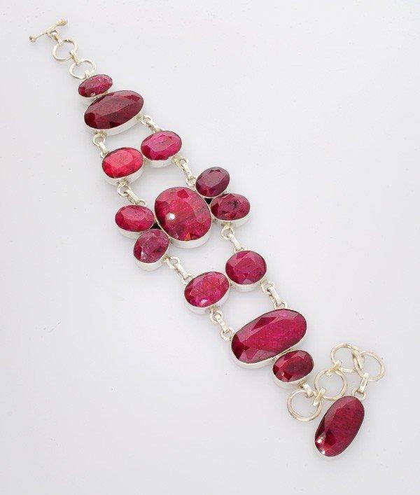 APP: 23.7k 94.42CT Ruby & Sterling Silver Bracelet