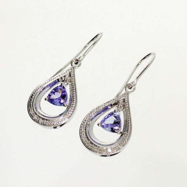 APP: 1k 18kt W Gold/Silver, Tanzanite/Diamond Earrings