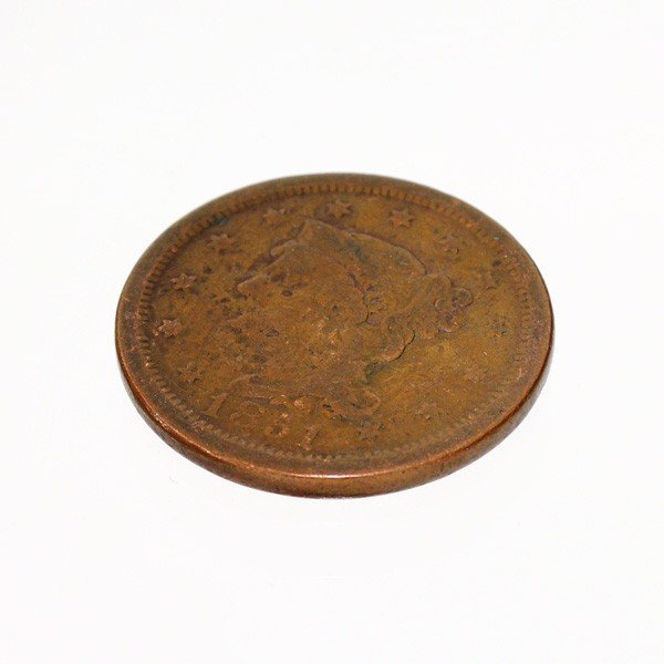 1851 Busted Liberty One Cent Coin - Investment