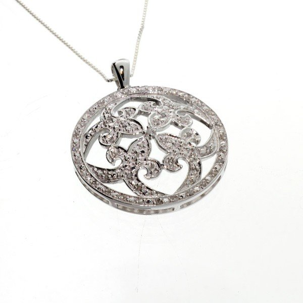 APP: 1k Diamond & Sterl Silver Pendant w/18'' Chain