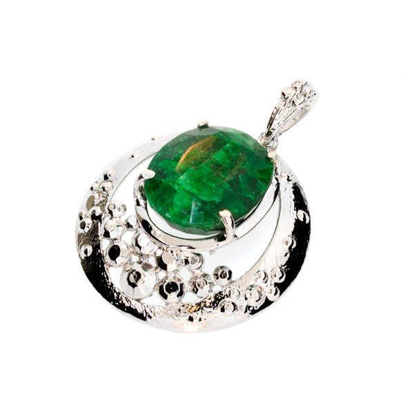 APP: 3.4k 41.86CT Emerald & Sterling Silver Pendant