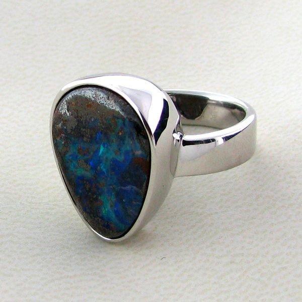 APP: 10.4k 13.93CT Boulder Opal & Sterling Silver Ring