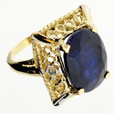 APP: 10.8k 14 kt. Gold,11.38CT Blue Sapphire Ring