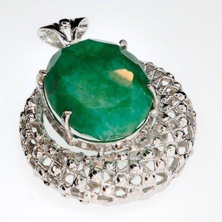 APP: 5.8k 78.92CT Emerald & Sterling Silver Pendant