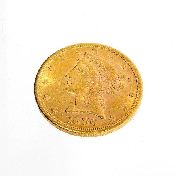 1886-S U.S. $5 Liberty Head Gold Coin - Investment