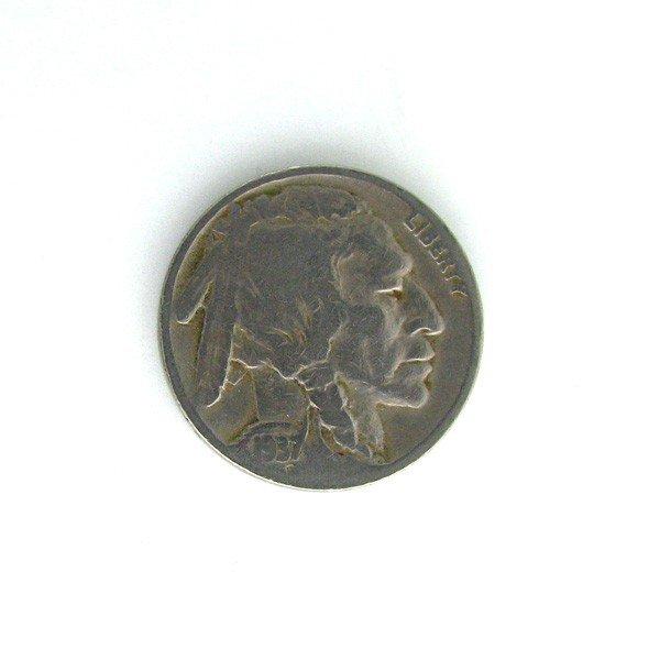 1937-D U.S. 3 Leg Buffalo 5 Cents Coin - Investment
