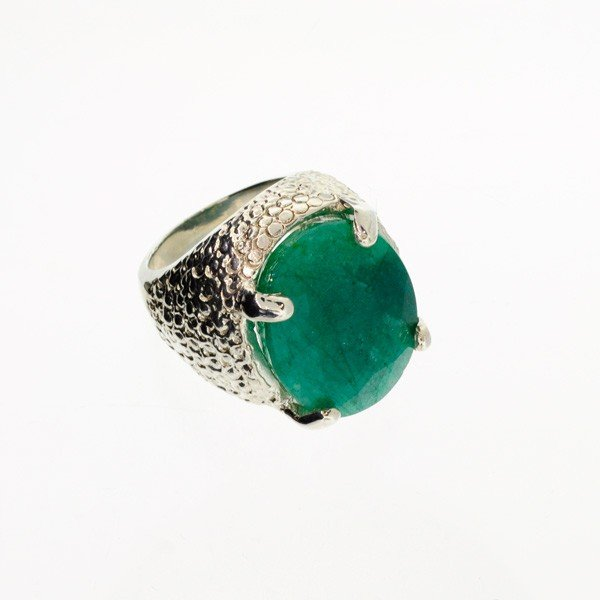 APP: 11.7k 16.65CT Emerald & Sterling Silver Ring