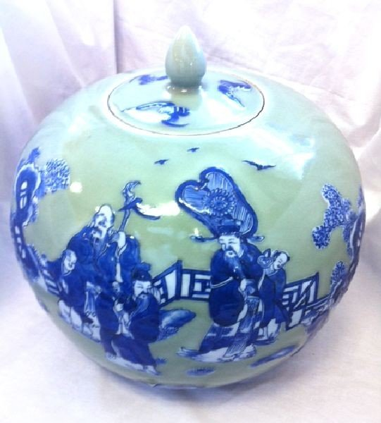 Large Pair of Chinese Hand Painted Blue Lidded Jars