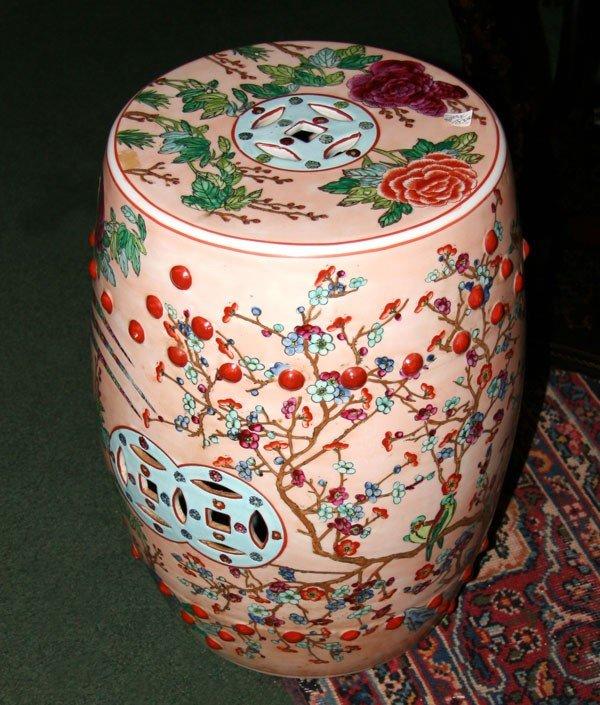 Asian Porcelain garden seat cherry blossoms