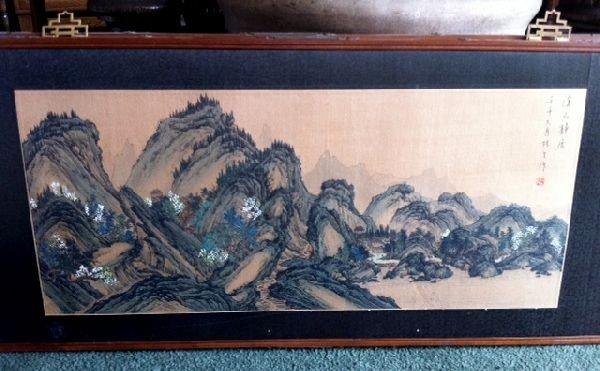 Chinese Artwork Framed Ink & Watercolor Landscape