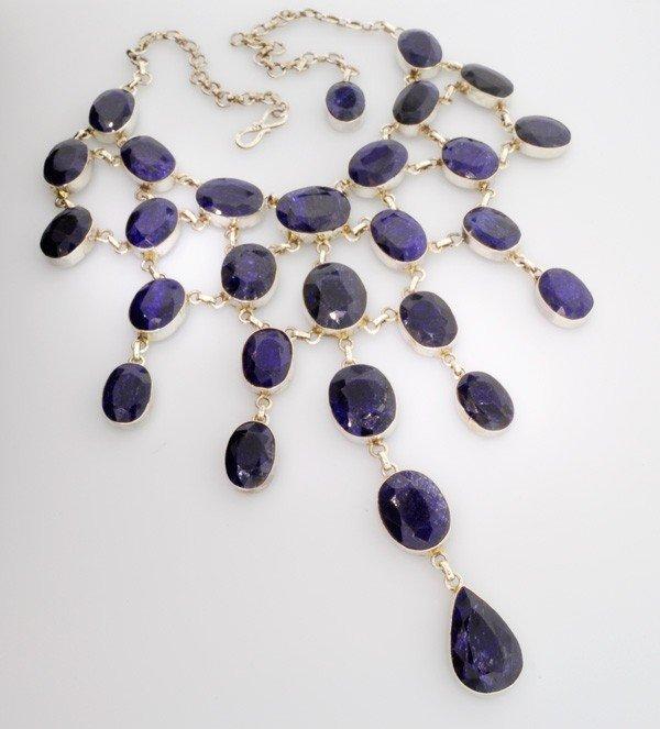 APP: 76k 461CTBlue Sapphire & Sterling Silver Necklace