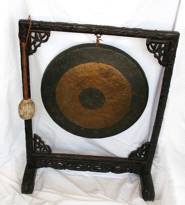 Asian Metal Gong w/rosewood frame