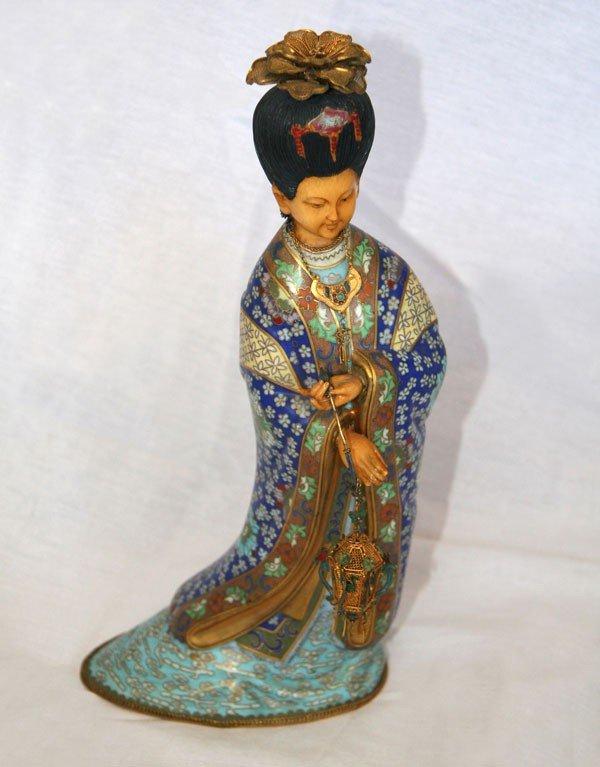 Asian Cloissone Geisha Sculpture