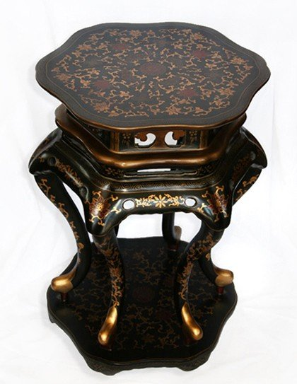 Asian Wooden end table w/enlaid top Pick Up Only
