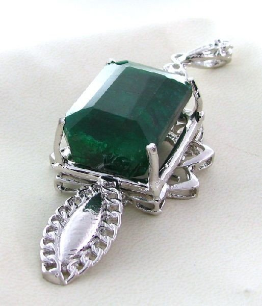 APP: 10.5k 80.97CT Emerald & Sterling Silver Pendant