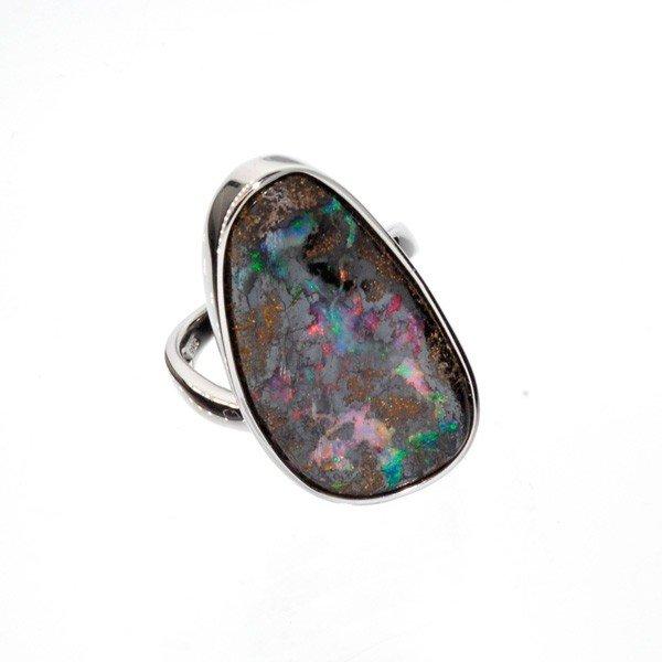 APP: 9.2k 46.95CT Boulder Opal & Sterling Silver Ring