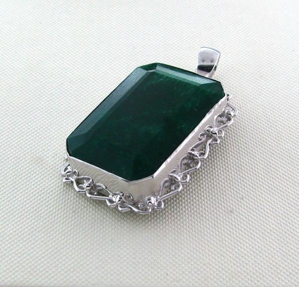 APP: 17.4k 113.30CT Emerald & Sterling Silver Pendant