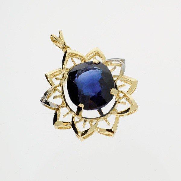 APP: 32k 29.10CT 14kt Gold, Sapphire & Diamond Pendant