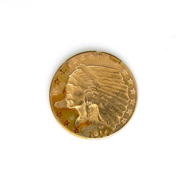 1914-D U.S. $2.5 Indian Head Gold  Coin - Investment