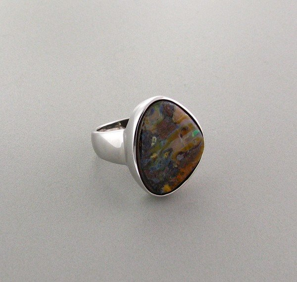 APP: 5.3k 16.82CT Boulder Opal & Sterling Silver Ring
