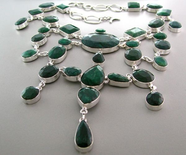 APP: 49k 341CTGreen Sapphire & Sterling Silver Necklace