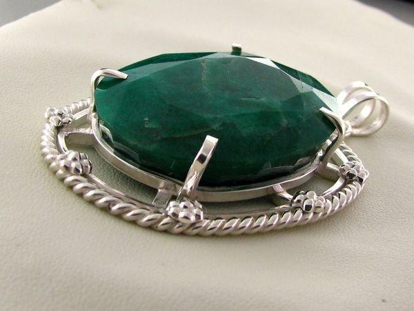 APP: 10.4k 119.14CT Emerald & Sterling Silver Pendant