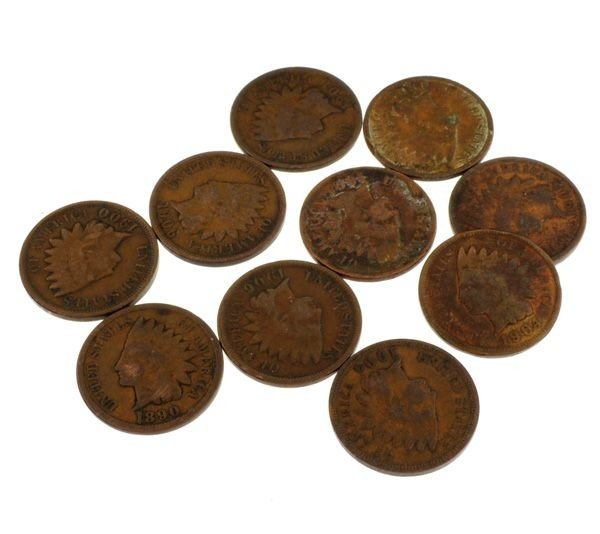 10 Misc. Indian Head One Cent Coin - Investment