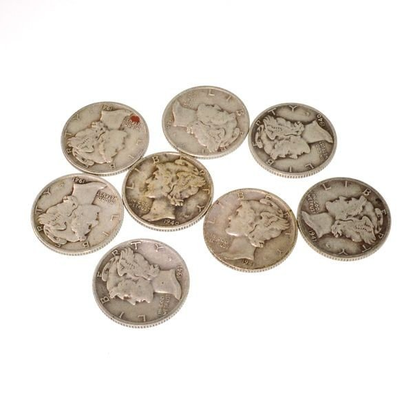 8 Misc. Winged Liberty Head Mercury Dime Coin