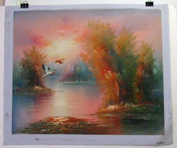 Oil Painting (Ducks Flying Off Lake) 23.5 X 27