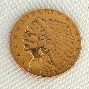 1914 U.S. $2.5 Indian Head Gold  Coin - Investment