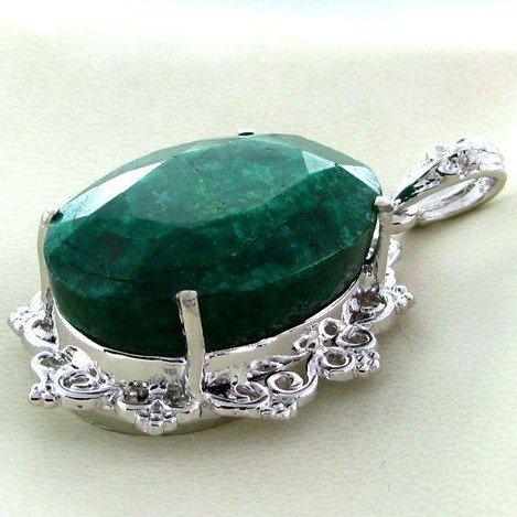 APP: 11.1k 84.63CT Emerald & Sterling Silver Pendant