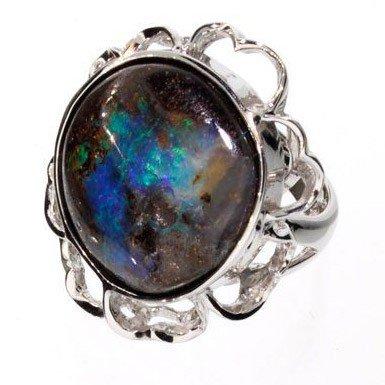 APP: 11.3k 45.90CT Boulder Opal & Sterling Silver Ring
