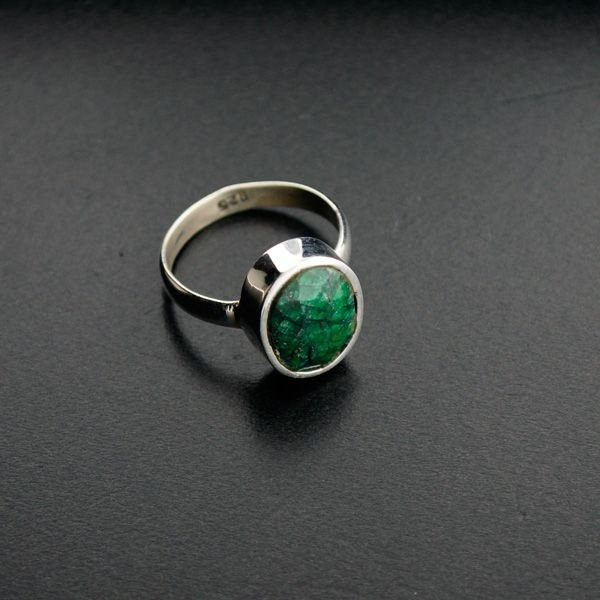 APP: 1k 5.59CT Green Sapphire & Sterling Silver Ring