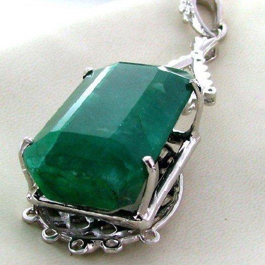 APP: 20.7k 132.58CT Emerald & Sterling Silver Pendant