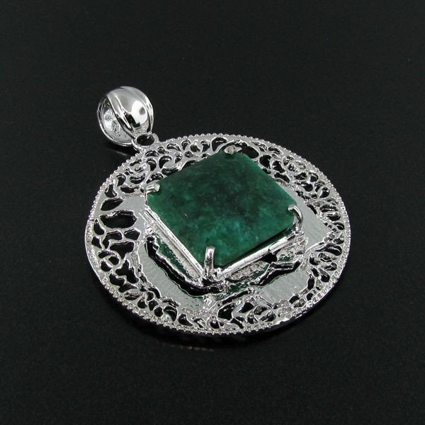 APP: 10.9k 40.97CT Emerald & Sterling Silver Pendant