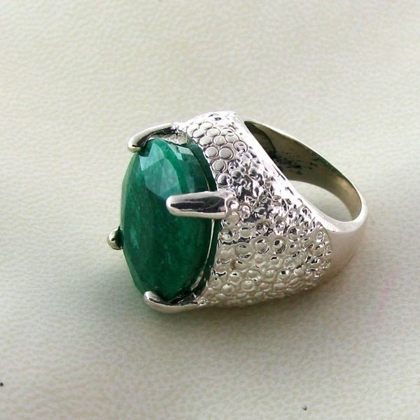 APP: 11.1k 15.64CT Emerald & Sterling Silver Ring