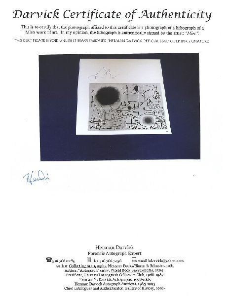 JOAN MIRO Hand Signed Book Photo