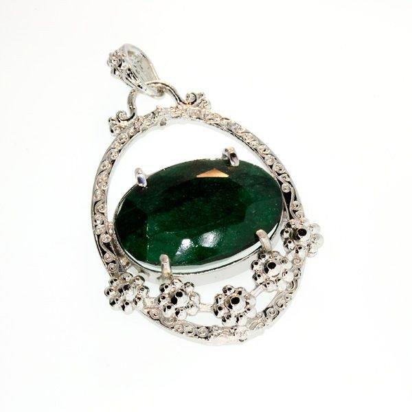 APP: 6k 50.28CT Emerald & Sterling Silver Pendant