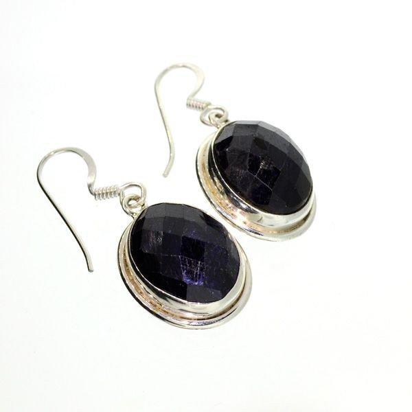 APP: 8k 20CTBlue Sapphire & Sterling Silver Earrings