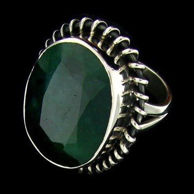 APP: 12.7k 14.81CT Emerald & Sterling Silver Ring