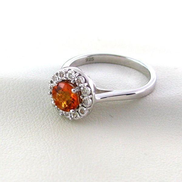 18kt Gold, Citrine Quartz w/Diamond Silver Ring
