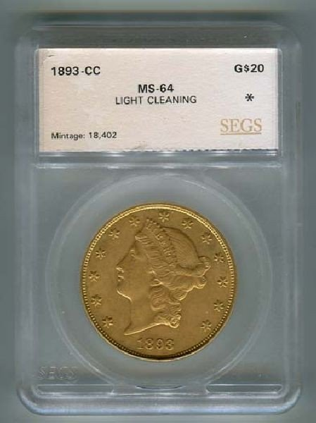1893-CC $20 Liberty Light Cleaning Coin - Investment